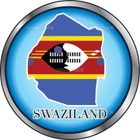 Vector Illustration for the country of Swaziland Round Button.