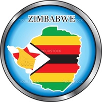 Vector Illustration for the country of Zimbabwe Round Button.
