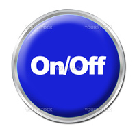 Blue round button with the symbol On/Off