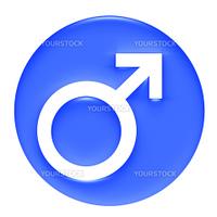 Male Symbol 3D Blue Gel Framed