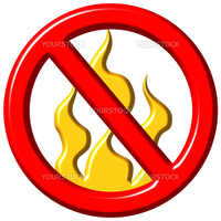 No fire sign isolated in white