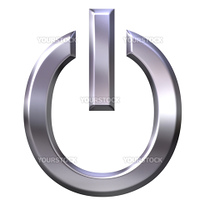 3d silver power symbol isolated in white