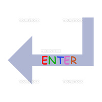 Colored enter arrow isolated in white