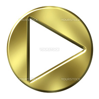 3d golden arrow button isolated in white