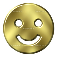 3d golden smiley isolated in white