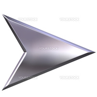 3d silver arrow isolated in white