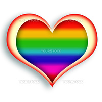 Multicolored glowing heart symbol over white background