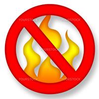 No Fire Symbol over White Background