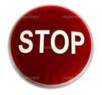 Transparent red stop button with light effect and white background