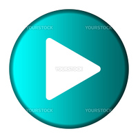 Media play button on glossy turquoise button, isolated on white background with copy space.