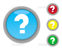 Set of four colorful glossy question mark button icons with light effect isolated on white background.