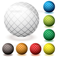 Collection of round web icons with hash lines and 3d effect