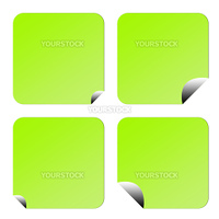 Set of four green eco labels or stickers with upturned corners, isolated on white background.