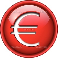 Euro sign icon, button, 3d red glossy circle.