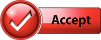 accept mark icon, button, red glossy.