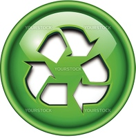 Recycle icon, button, 3d green glossy circle.