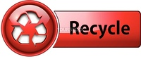 Recycle icon button, red glossy.