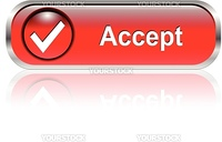 Accept, check symbol icon, button, red glossy with shadow
