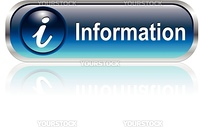 Info icon, button, blue glossy with shadow