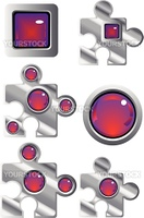 collection of fancy puzzle glass look web buttons in red and purple