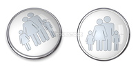 3D button with silver gray family with kids pictogram