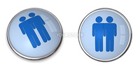 3D button blue male couple pictogram on blue background