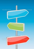 3D Vector direction signs and sky background. Any size and easy to edit illustration.