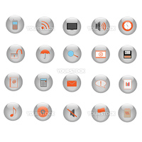 Image of various icons on silver buttons.