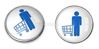 3D button man with shopping cart/trolley - blue on white background
