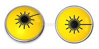 button with yellow laser warning symbol - top and side view