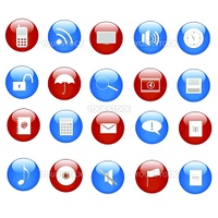 Various web icons on buttons.