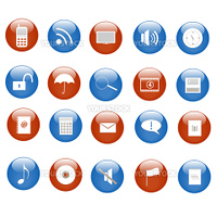 Various blue and red web icons on buttons.
