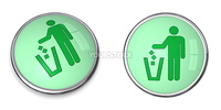 green button with recycling/eco pictogram - tidy man using wastebin