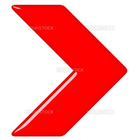 3d glossy red arrow isolated in white