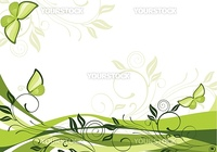 green floral background with butterflies
