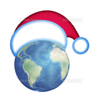 blue globe in  hat of Santa Claus on white background