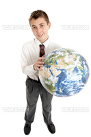A school student holding the earth,  world earth in his hands and smiling.  Shadow under shoes.