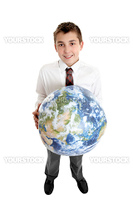 Caring for Earth.   Smiling  school student holds the earth in his hands.  Images of earth from Nasa satellite.