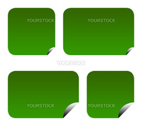 Green eco labels or stickers with peeled corners, isolated on white background.