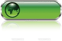 Blank green web button with earth globe inside, vector illustration