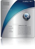 Business website template silver metallic, editable vector.