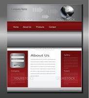 Website template grey red, editable vector