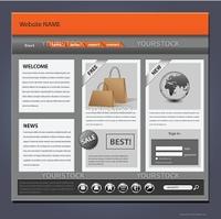 Website template, complex detailed design, editable vector.