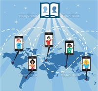 The mobile phone connects people worldwide through the social network, vector available.