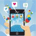 タイトル:connected to the social network with mobile phone, vector available