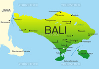 Vector map of Bali country colored by national flag