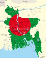 Vector map of Bangladesh country colored by national flag