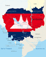 Vector map of Cambodia country colored by national flag