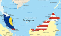 Vector map of Malaysia country colored by national flag