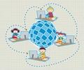 タイトル:Children uses school social network to learn and teach class lessons.